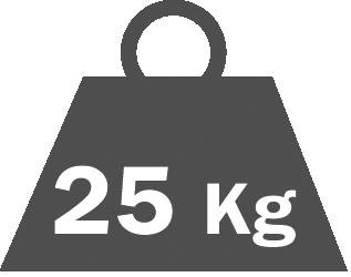 Portata per ripiano  25 kg